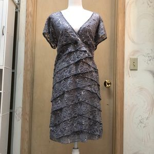 R & M Richards gray lace party dress NWOT